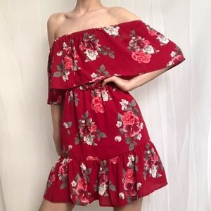 ✰ red floral off the shoulder dress